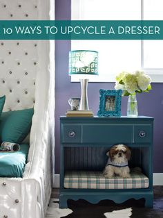 10 New Ways To Repurpose An Old Dresser » I'm in love with the doggie bed (though I highly doubt my big sausage would fit) and the one that holds their bowls and food.