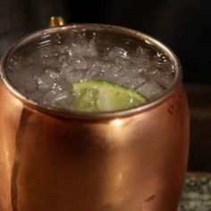 Vodka, ginger beer, crushed ice, and lime make the refreshing Moscow Mule.