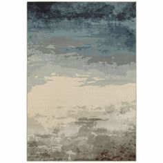 Linden Blue Beige Abstract Ombre Transitional Rug