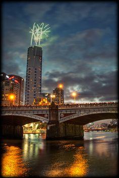 Firework on Australia Day at Eureka Tower, Melbourne
