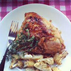 Roasted chicken with thyme and lemon.