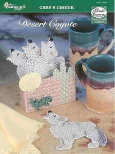 DESERT COYOTE COASTER SET 1/2 Plastic Canvas Coasters, Plastic Canvas Crafts, Plastic Canvas Patterns, Crochet Projects, Craft Projects, Projects To Try, Desert Coyote, Stitch Cartoon, Quilting Room