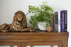 lion, plant, ball thing, books styled by Jill Cordner, via Design Sponge Mouse Hole, House Proud, Turning, Bookends, Lion Sculpture, Objects, House Design, Statue, Interior Design