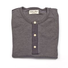 The West is Dead- Fall 2012- Henley Antique- Ultra soft double knit henley. Fabric custom knit in California. Rounded bottom opening, enamel button, contrast placket. Fits true to size. MADE IN THE USA