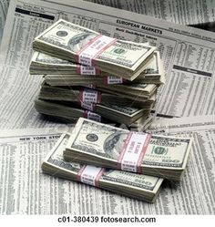 stacks paper bills | Stock Photograph of Stacks of 100 dollar bills and financial papers ...