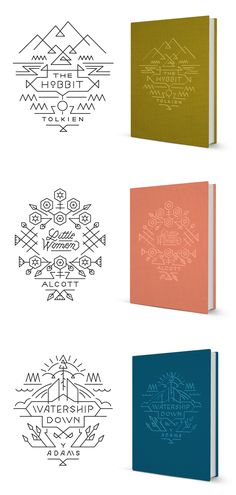 The Hobbit, Little Women & Watership Down book covers - design by Jill De Haan