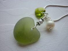 Olive Sea Glass Necklace Heart Shape