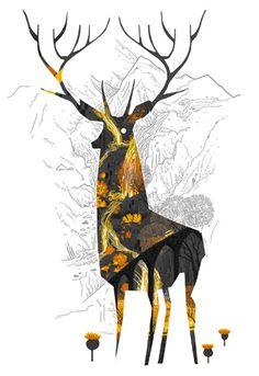 King Of The Highlands by Graham Carter at Boxbird.co.uk | 9 layer silkscreen | #boxbirdgallery #illustration #stag #scotland #grahamcarter #printmaking #silkscreen #brighton #onlineart #giftideas