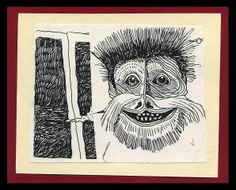 Portrait of a Smiling Creature - Pen Drawing. monster, animals, whimsical, window