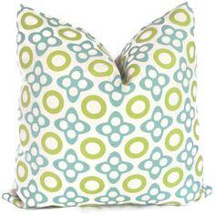 Studio Bon Aqua and Lime X and O Decorative Pillow by PopOColor, $50.00