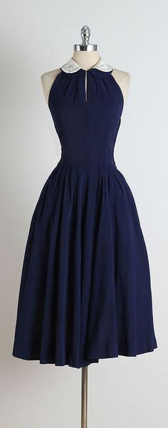 1950s Blue Jeweled Collar Halter Dress | From a collection of rare vintage day dresses at https://www.1stdibs.com/fashion/clothing/day-dresses/ Women, Men and Kids Outfit Ideas on our website at 7ootd.com #ootd #7ootd