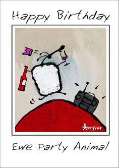 """Ewe Party Animal"" card by Ann Gadd. Ewe Sheep, Sheep Paintings, Birthday Cards, Happy Birthday, Illustration Art, Illustrations, Animal Cards, Whimsical, Ann"