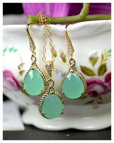 Bridesmaid jewelry Green mint opal green by thefabjewelrywedding, $49.99