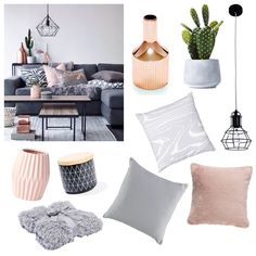 Grey & Pink =  Recreate for less than $250. Ceramic Decorative Vase in Rose Gold from Keeki - $39.95 Home Republic Cactus from Adairs - $17.95 Mechanics 1 Light Cage Pendant in black from Beacon Lighting - on sale $64.76 From Target: Into The Woods Cushion - $20 Megan Gale Blush Cushion - $25 Plain Rib Cushion in stone - $8 Fluffy Grey Faux Fur Throw - $39 From Kmart: Ribbed Vase in pink - $5 Patterned Cannister - $5