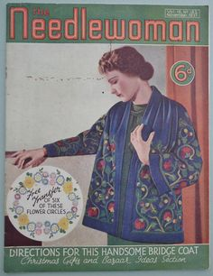 The Needlewoman November 1937 - vintage 1930s needlework sewing magazine book knitting patterns 30s embroidery transfer