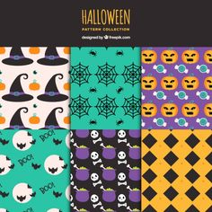 Collection of patterns with decorative elements halloween Free Vector