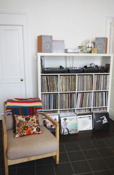 vinyl storage and record player.I will begin my hunt for a record player and start expanding my vinyl collection Decor, Vinyl Storage, House Interior, Record Room, House, Room, Home Decor, Eclectic Home, Storage