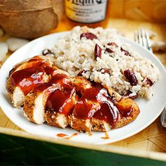 Island-spiced Jerk Chicken smothered in sweet sauce, paired with Jamaican Red Beans & Rice, aka The Best Rice, Ever. Looking forward to eating some of the scrumptious Jamaican food while we're in Jamaica in October/November!