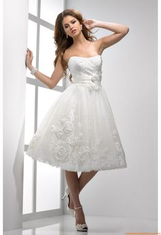 Designer Knielang Kurze Romantische Brautkleider