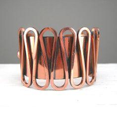 Renoir Copper Wide Cuff Bracelet Vintage Jewelry Designer Signed 1940-50