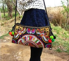 national trend ethnic Embroidered bag handmade double faced embroidery Messenger shoulder bag handbags