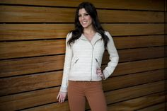 Model wearing Ella Moss jacket with Henry & Belle jeans