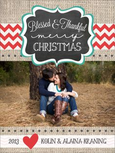 Burlap and chalkboard Christmas Card on Etsy