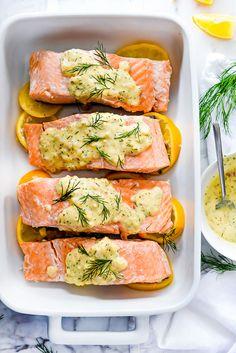 Poached Salmon (+ Mustard Dill Sauce!) | foodiecrush.com