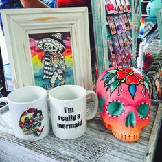 Mugs are back for a limited time! Find us set up at the French Market today until 5pm or at Second Line Arts & Antiques open until midnight! #imreallyamermaid #mermaidmug #tropical #mug #skull #skullparty #skullparadise #neworleans #frenchmarket #frenchquarter #handmade #rainbowcamo by skullparadise504