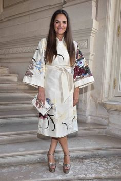 Laure Dubreuil wearing a Valentino Kimono from the Fall 2016 Collection to the Valentino Men's Spring/Summer 2017 fashion show on June 22nd 2016.