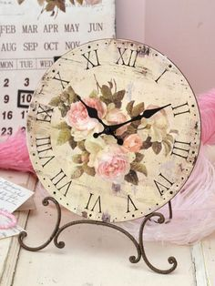 French Style Desktop Clock with Pink Roses. very pretty. home decor