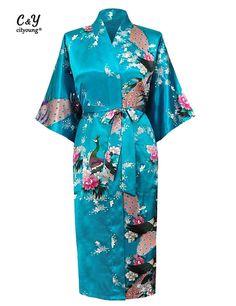 New Long Sheer Japanese Robe Satin Bathrobe Nightgown For Women Kimono Sleepwear Flower Sexy Robes Plus Size M - XXXL  HJ_09