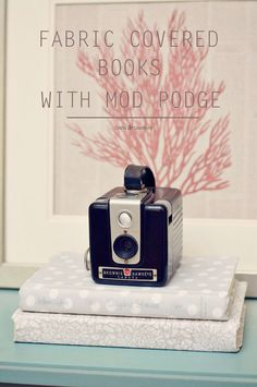 Use a special Mod Podge formula to create these fabric covered books - perfect for unique home decor, and you can customize the colors!