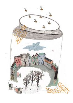 Editorial illustration for a piece of writing talking about the problems with honey pot locations and tourist villages!