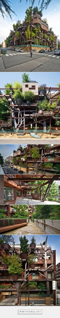 Urban Treehouse in Turin, designed by Italian architect Luciano Pia to protect residents from noise and air pollution.