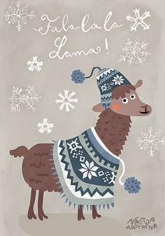 Nastja Holtfreter Illustration Surface and Pattern Design: Dezember clipart & coloring christmas winter Alpacas, Alpaca Illustration, Illustration Art, Llama Christmas, Christmas Art, Llama Peruana, Clipart, Llama Print, Llama Llama