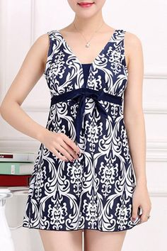 $13.76 Ethnic Style V-Neck Bowknot Embellished Printed Women's One-Piece Swimsuit