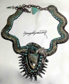 "The "" Swim with the Dolphins""  Nevada Sierra Creek Turquoise Cabochon necklace created by Lynn Parpard"