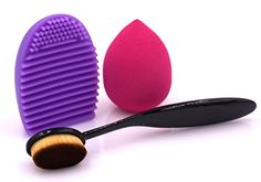 Three In One MakeUp Brush Set. (1) Oval Foundation Brush, (1) MakeUp Washing Cleaning Scrubber Board and (1) Makeup Sponge Puff. Flawless Coverage Of Your Favorite Foundation, 100% Guaranteed