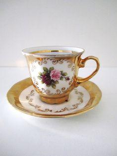 Vintage Teacup  24 Karat Gold Trimmed Rose Motif Teacup Royal Serving Bavaria Germany