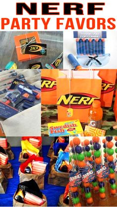 Nerf Birthday Party Favors! Nerf gun party bags, goodie bag & more ideas.