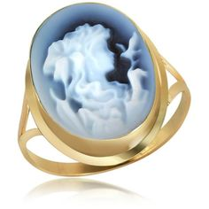 Del Gatto Woman Agate Cameo 18K Gold Ring ($298) ❤ liked on Polyvore featuring jewelry, rings, accessories, blue, anillos, 18k yellow gold ring, blue ring, gold jewellery, gold cameo ring and 18k ring
