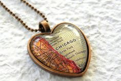 World Traveler Heart Shaped Map Necklace – Chicago, $20 at etsy