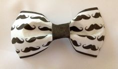 Black and white moustache pattern hair bow by PepperandSquire, £2.99