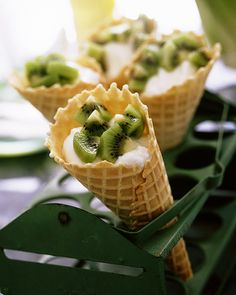 "Yogurt Cones with Kiwis - Fun snack for the summer - great for the ""pink sheets"" - check off a fruit and a dairy box :)"