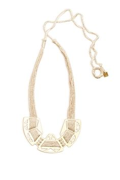 Gold & white cotton necklace-bib neccklace - valentine gift - threaded necklace- eco friendly jewel- bridal jewelry-limited edition-handmade