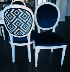 Louis chairs reupholstered with Lee Jofa Fiorentina Patterned Velvet on the backs. Amazing work done by Trevor Brown Upholstery.