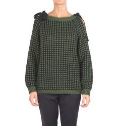 Ki6? Who are you? - Sweater - 300448 - Black/Green - 20300   Two-tone wool sweater. English rib processing. Boat neckline. Long sleeve with discovery shoulder and fabric ties. Straight cut. Fabric Composition: 40% Acrylic 30% wool 12% polyamide 12% mohair 6% alpaca. Straps composition: 100% polyester. Made in Italy. The model wears the size S and is 175 cm high.