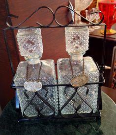 #sold Antique vintage EAPG depression glass diamond pattern scotch rye gin bourbon liquor whisky decanter bottle lock case best offer free ship