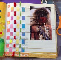 weaving using a page magazine pcture in a book or duotang20140203-195644.jpg